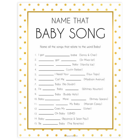 name that baby song game, Printable baby shower games, baby gold dots fun baby games, baby shower games, fun baby shower ideas, top baby shower ideas, gold glitter shower baby shower, friends baby shower ideas
