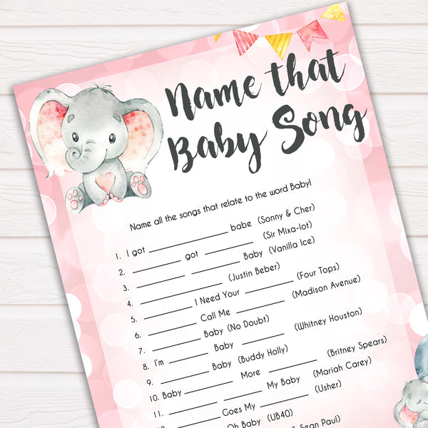 pink elephant baby games, name that baby song baby shower games, printable baby shower games, baby shower games, fun baby games, popular baby games, pink baby games