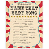 Circus name that baby song baby shower games, circus baby games, carnival baby games, printable baby games, fun baby games, popular baby games, carnival baby shower, carnival theme