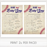 Baseball Name That Song Baby Shower Game, Baby Song Games, Baby Shower Games, Fun Baby Shower, Name that Song Game, Whats That Song, printable baby shower games, fun baby shower games, popular baby shower games