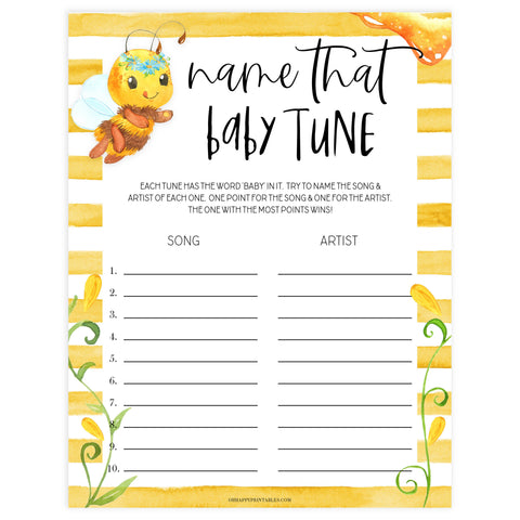 name that baby tune game, Printable baby shower games, mommy bee fun baby games, baby shower games, fun baby shower ideas, top baby shower ideas, mommy to bee baby shower, friends baby shower ideas