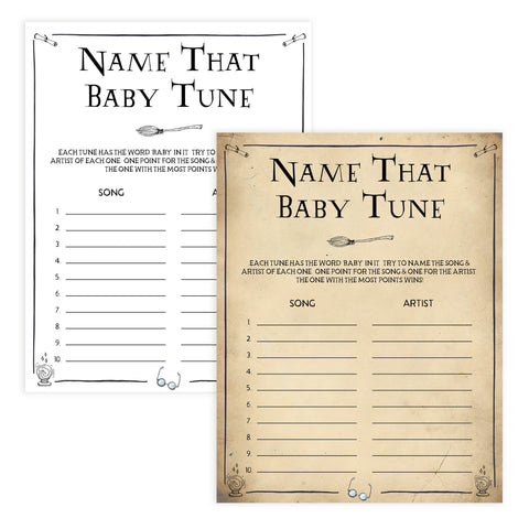 Name That Baby Tune Game, Wizard baby shower games, printable baby shower games, Harry Potter baby games, Harry Potter baby shower, fun baby shower games,  fun baby ideas