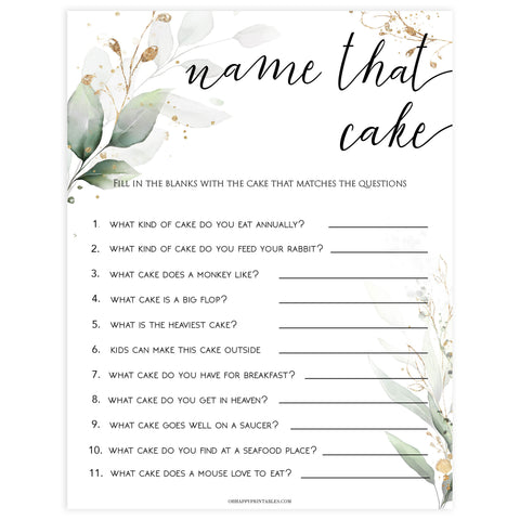 name that cake, name that cake bridal game, Printable bridal shower games, greenery bridal shower, gold leaf bridal shower games, fun bridal shower games, bridal shower game ideas, greenery bridal shower