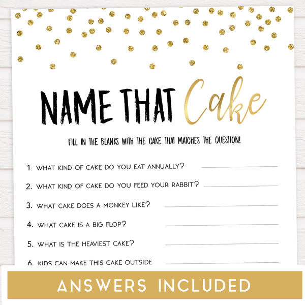 name the cake game, bridal shower name the cake game,  Printable bridal shower games, gold glitter bridal shower, gold glitter bridal shower games, fun bridal shower games, bridal shower game ideas, gold glitter bridal shower