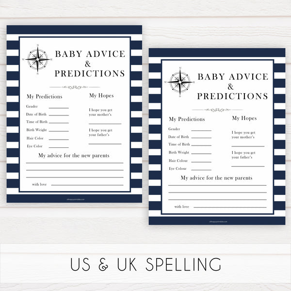 Nautical baby shower games, baby advice and predictions baby shower games, printable baby shower games, baby shower games, fun baby games, popular baby shower games, sailor baby games, boat baby games