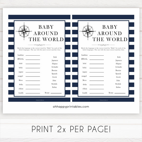 Nautical baby shower games, baby around the world baby shower games, printable baby shower games, baby shower games, fun baby games, popular baby shower games, sailor baby games, boat baby games