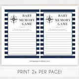 Nautical baby shower games, baby memory game baby shower games, printable baby shower games, baby shower games, fun baby games, popular baby shower games, sailor baby games, boat baby games
