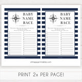 Nautical baby shower games, baby name race baby shower games, printable baby shower games, baby shower games, fun baby games, popular baby shower games, sailor baby games, boat baby games