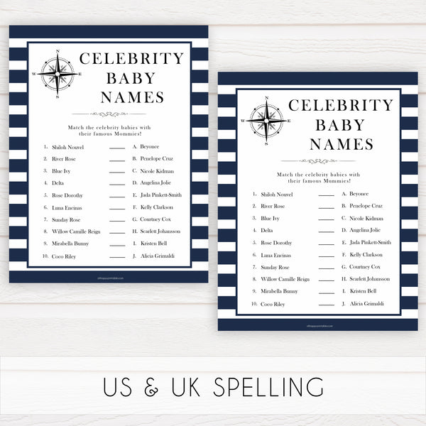 Nautical baby shower games, celebrity baby names baby shower games, printable baby shower games, baby shower games, fun baby games, popular baby shower games, sailor baby games, boat baby games