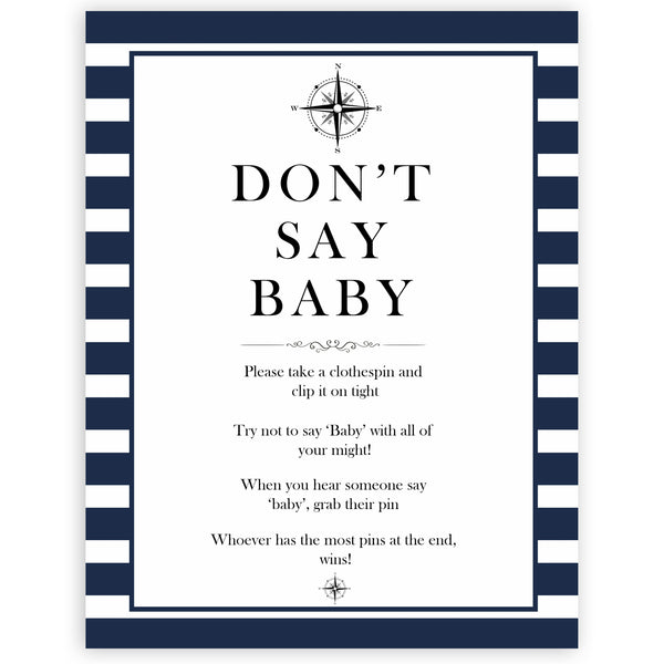 Nautical baby shower games, dont say baby baby shower games, printable baby shower games, baby shower games, fun baby games, ahoy its a boy, popular baby shower games, sailor baby games, boat baby games