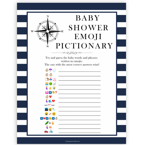 Nautical baby shower games, emoji pictionary baby shower games, printable baby shower games, baby shower games, fun baby games, ahoy its a boy, popular baby shower games, sailor baby games, boat baby games