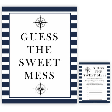 Nautical baby shower games, guess the sweet mess baby shower games, printable baby shower games, baby shower games, fun baby games, ahoy its a boy, popular baby shower games, sailor baby games, boat baby games