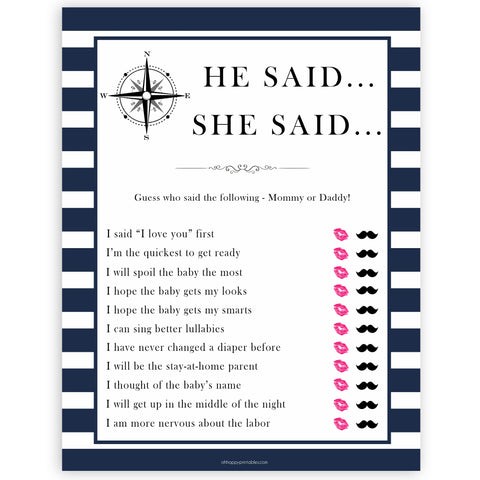 Nautical baby shower games, he said she said baby shower games, printable baby shower games, baby shower games, fun baby games, ahoy its a boy, popular baby shower games, sailor baby games, boat baby games