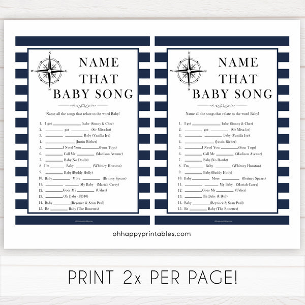 Nautical baby shower games, name that baby song baby shower games, printable baby shower games, baby shower games, fun baby games, ahoy its a boy, popular baby shower games, sailor baby games, boat baby games
