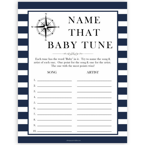 Nautical baby shower games, name that baby tune baby shower games, printable baby shower games, baby shower games, fun baby games, ahoy its a boy, popular baby shower games, sailor baby games, boat baby games