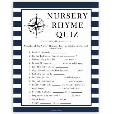 Nautical baby shower games, nursery rhyme quiz baby shower games, printable baby shower games, baby shower games, fun baby games, ahoy its a boy, popular baby shower games, sailor baby games, boat baby games