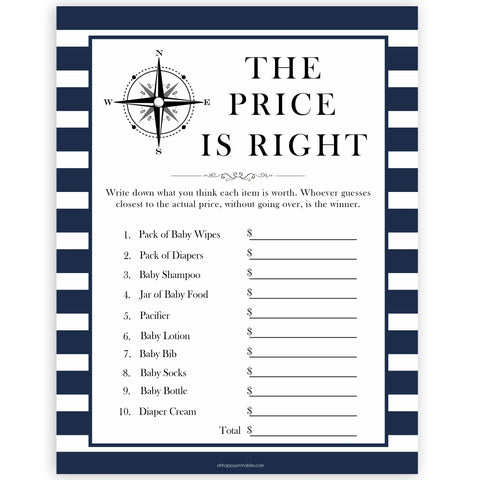 Nautical baby shower games, the price is right baby shower games, printable baby shower games, baby shower games, fun baby games, ahoy its a boy, popular baby shower games, sailor baby games, boat baby games