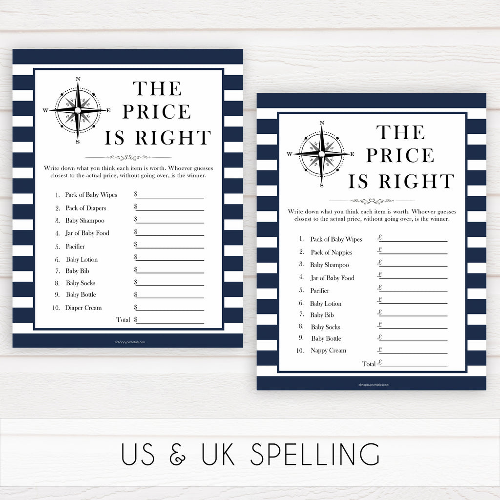 Baby Shower price is right Anchor blue na1 Instant Download Nautical Anchor Printable Baby Shower Game The Price is Right