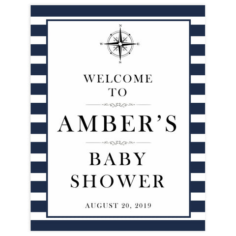 baby shower welcome sign, printable baby welcome signs, nautical baby shower decor, nautical baby signs, nautical baby table signs