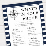 Nautical baby shower games, whats in your phone baby shower games, printable baby shower games, baby shower games, fun baby games, ahoy its a boy, popular baby shower games, sailor baby games, boat baby games