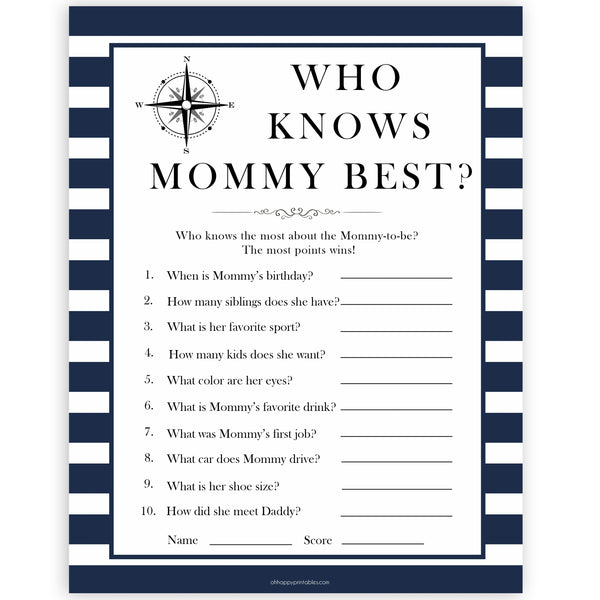 Nautical baby shower games, who knows mummy best baby shower games, printable baby shower games, baby shower games, fun baby games, ahoy its a boy, popular baby shower games, sailor baby games, boat baby games