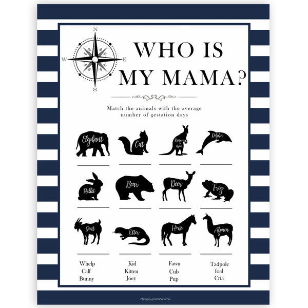 Nautical baby shower games, who is my mama baby shower games, printable baby shower games, baby shower games, fun baby games, ahoy its a boy, popular baby shower games, sailor baby games, boat baby games