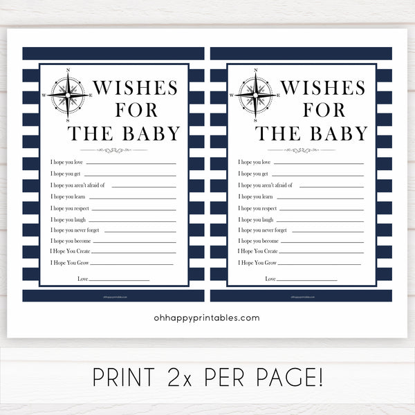 Nautical baby shower games, wishes for the baby baby shower games, printable baby shower games, baby shower games, fun baby games, ahoy its a boy, popular baby shower games, sailor baby games, boat baby games