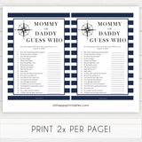 Nautical baby shower games, guess who mommy or daddy baby shower games, printable baby shower games, baby shower games, fun baby games, ahoy its a boy, popular baby shower games, sailor baby games, boat baby games