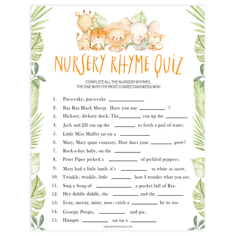 baby nursery rhyme game, Printable baby shower games, safari animals baby games, baby shower games, fun baby shower ideas, top baby shower ideas, safari animals baby shower, baby shower games, fun baby shower ideas