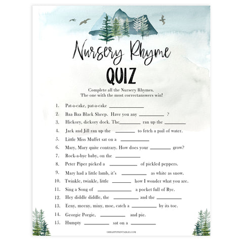 nursery rhyme quiz game, Printable baby shower games, adventure awaits baby games, baby shower games, fun baby shower ideas, top baby shower ideas, adventure awaits baby shower, baby shower games, fun adventure baby shower ideas
