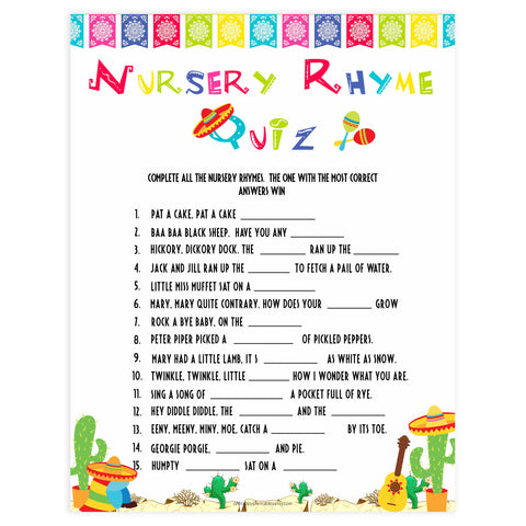 nursery rhyme baby game, Printable baby shower games, Mexican fiesta fun baby games, baby shower games, fun baby shower ideas, top baby shower ideas, fiesta shower baby shower, fiesta baby shower ideas