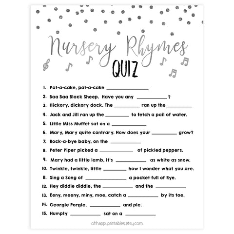baby nursery rhyme quiz, Printable baby shower games, baby silver glitter fun baby games, baby shower games, fun baby shower ideas, top baby shower ideas, silver glitter shower baby shower, friends baby shower ideas