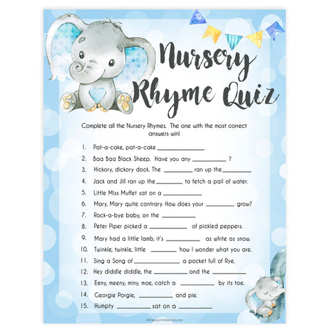 Blue elephant baby games, nursery rhyme quiz, elephant baby games, printable baby games, top baby games, best baby shower games, baby shower ideas, fun baby games, elephant baby shower