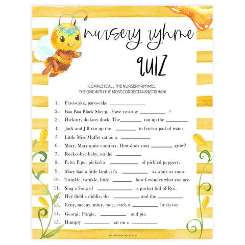 nursery rhyme quiz game, Printable baby shower games, mommy bee fun baby games, baby shower games, fun baby shower ideas, top baby shower ideas, mommy to bee baby shower, friends baby shower ideas