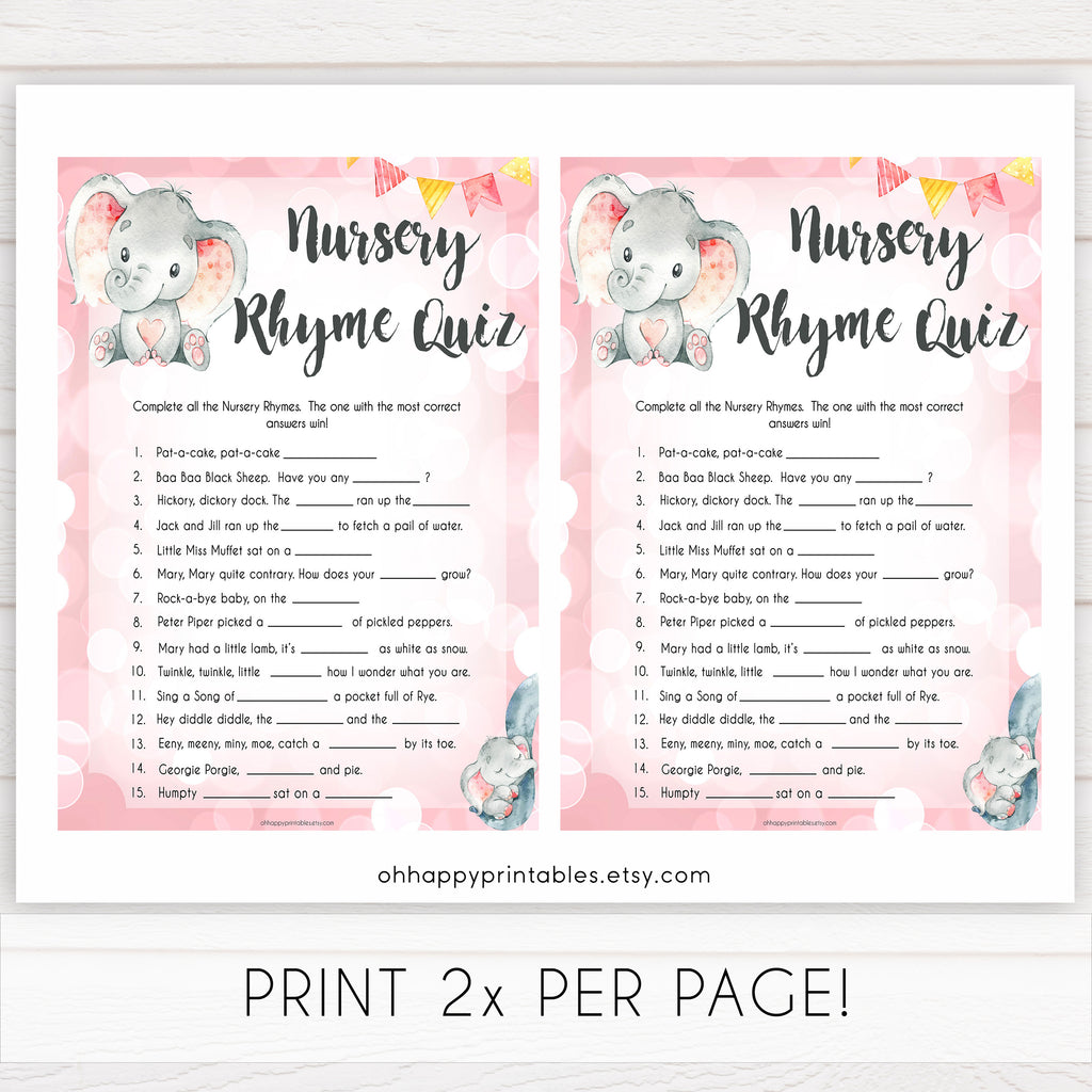 image regarding 75 Printable Baby Shower Games With Answers known as Nursery Rhyme Quiz Video game - Purple Elephant Printable Youngster