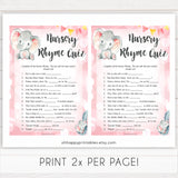 pink elephant baby games, nursery rhyme quiz baby shower games, printable baby shower games, baby shower games, fun baby games, popular baby games, pink baby games
