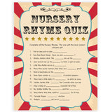 Circus baby nursery rhyme quiz baby shower games, circus baby games, carnival baby games, printable baby games, fun baby games, popular baby games, carnival baby shower, carnival theme