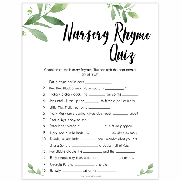 botanical nursery rhyme quiz, printable baby shower games, baby games, fun baby games, popular baby games