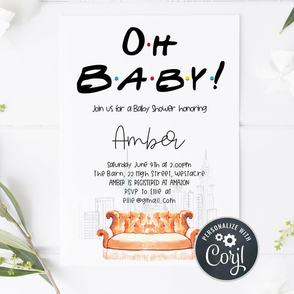 editable oh baby baby shower invitation, friends baby shower invitation, baby shower invitations, editable baby shower invite, friends baby shower theme, friends