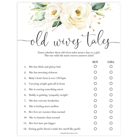 old wives tale game, Printable baby shower games, shite floral baby games, baby shower games, fun baby shower ideas, top baby shower ideas, floral baby shower, baby shower games, fun floral baby shower ideas