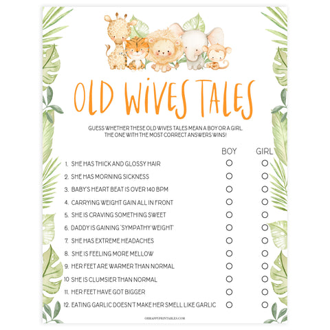 old wives tale game, Printable baby shower games, safari animals baby games, baby shower games, fun baby shower ideas, top baby shower ideas, safari animals baby shower, baby shower games, fun baby shower ideas