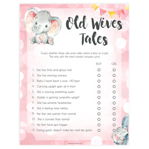old wives tales, Printable baby shower games, fun abby games, baby shower games, fun baby shower ideas, top baby shower ideas, pink elephant baby shower, pink baby shower ideas