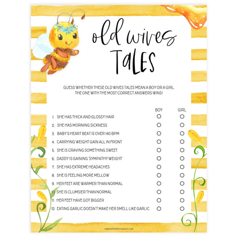 old wives tales game, baby old wives tales, Printable baby shower games, mommy bee fun baby games, baby shower games, fun baby shower ideas, top baby shower ideas, mommy to bee baby shower, friends baby shower ideas