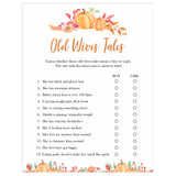 Fall pumpkin baby games, old wives tales, printable baby games, fall baby shower, pumpkin baby shower, autumnal baby games, top 10 baby games, best baby games