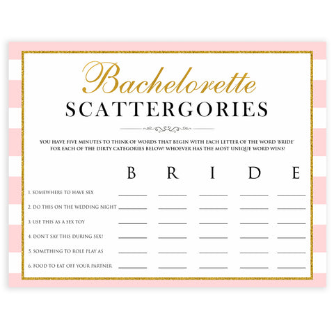 parisian bachelorette games, dirty scattergories game, bridal shower games, naughty bridal games, dirty bachelorette games, top bridal games