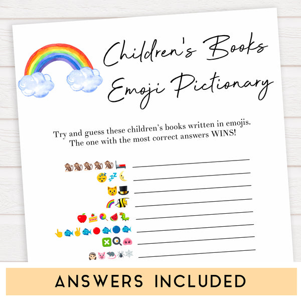 Rainbow baby games, rainbow childrens books emoji pictionary, rainbow printable baby games, instant download games, rainbow baby shower, printable baby games, fun baby games, popular baby games, top 10 baby games