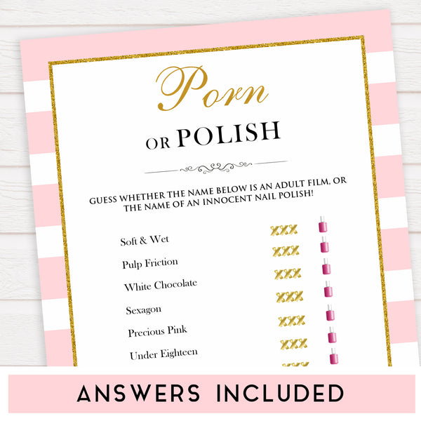 parisian bachelorette games, porn or polish game, bridal shower games, naughty bridal games, dirty bachelorette games, top bridal games