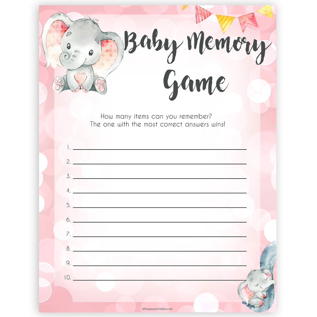 Baby Memory Game - Pink Elephant Printable Baby Shower ...