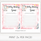 pink elephant baby games, baby memory game baby shower games, printable baby shower games, baby shower games, fun baby games, popular baby games, pink baby games