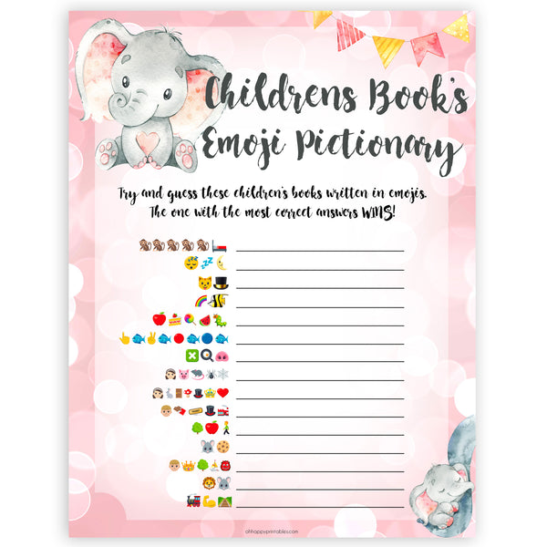 pink elephant baby games, childrens books emoji pictionary baby shower games, printable baby shower games, baby shower games, fun baby games, popular baby games, pink baby games
